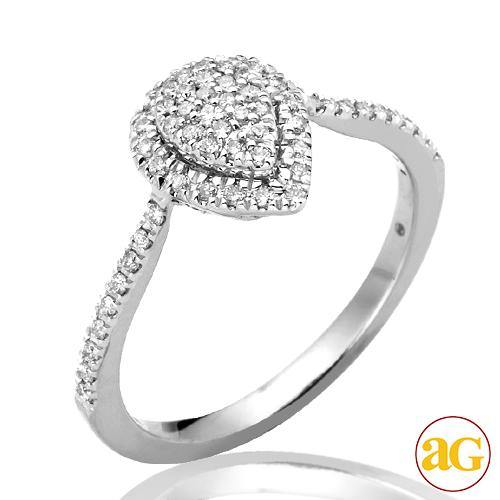 14KW 0.30CTW DIAMOND PEAR DOME LADIES RING WITH HA