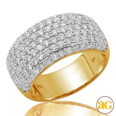 14KY 1.80CTW PAVE DIAMOND LADIES PAVE DOME BAND