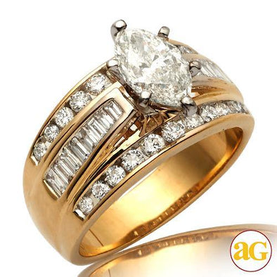 14KY 1.90CTW DIAMOND BRIDAL RING [0.90CT MQ - D SI