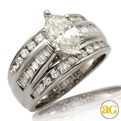 14KW 2.40CTW DIAMOND BRIDAL RING [1.40CT MQ - G SI