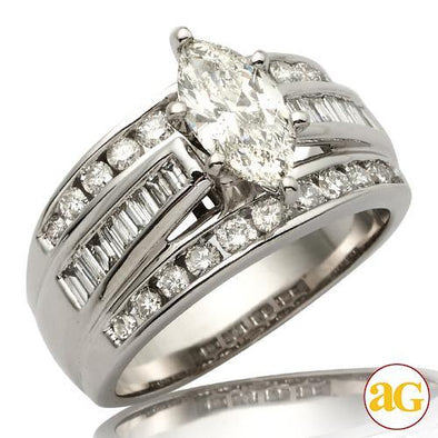 14KW 2.01CTW DIAMOND BRIDAL RING [1.01CT MQ - I SI