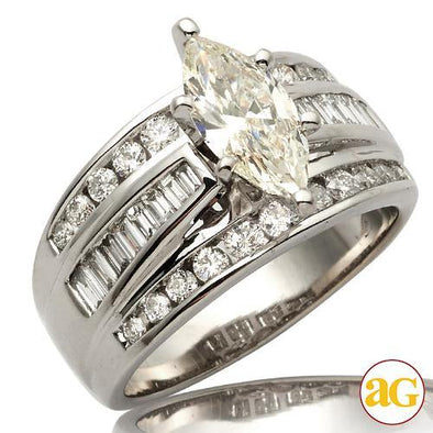 14KW 2.03CTW DIAMOND BRIDAL RING [1.03CT MQ - J SI
