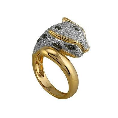 14KY 1.0CTW DIAMOND PANTHER RING