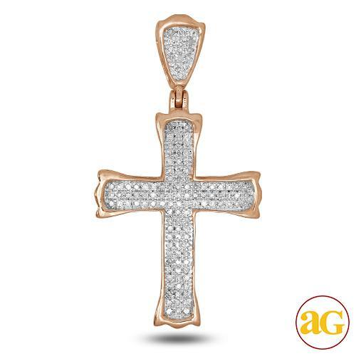 10KR 0.35CTW DIAMOND CROSS PENDANT