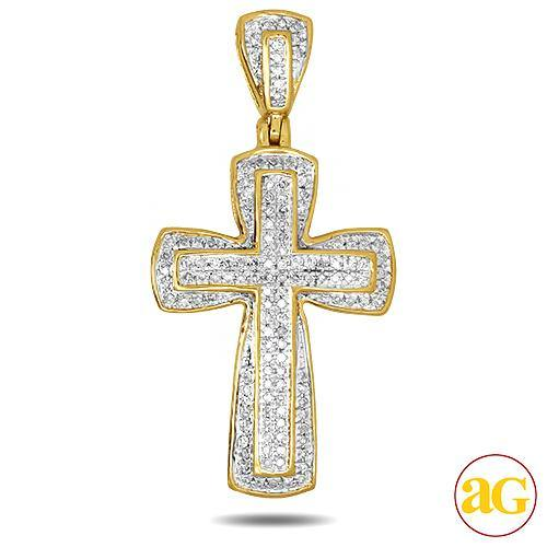 10KY 0.30CTW DIAMOND CROSS PENDANT