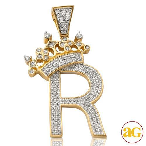 10KY 0.36CTW DIAMOND INITIAL WITH CROWN PENDANT -