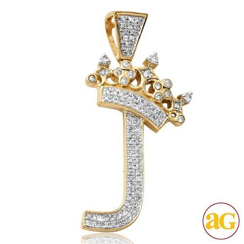 10KY 0.28CTW DIAMOND INITIAL WITH CROWN PENDANT -