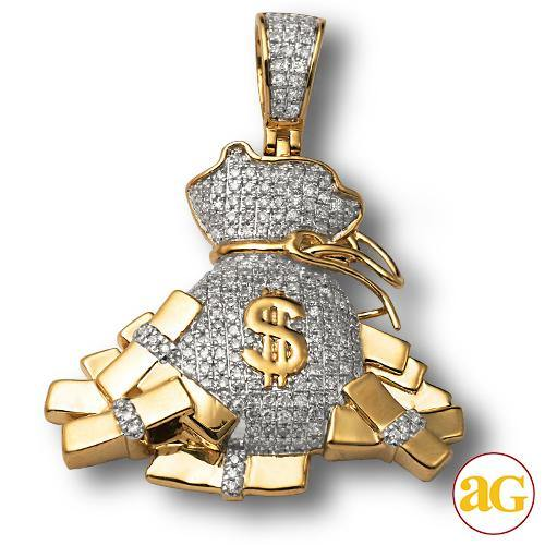 10KY 1.00CTW DIAMOND MONEY BAG PENDANT WITH STACKS