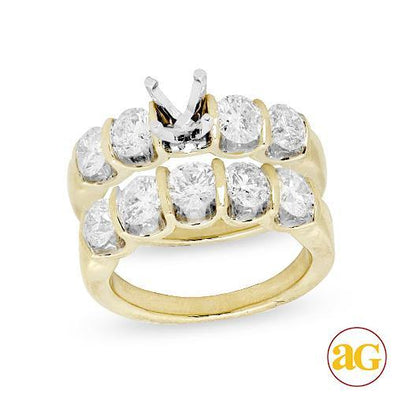 14KY 3.00CTW DIAMOND SEMI MOUNT BRIDAL SET W/5-STO