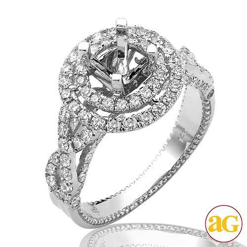 14KW 1.10CTW DIAMOND SEMI MOUNT BRIDAL RING WITH