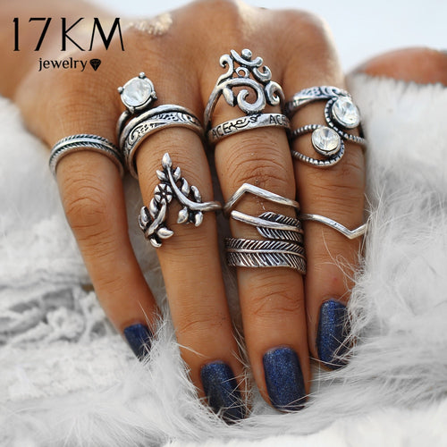 Vintage Silver Color Knuckle Rings Carving Antique Hollow Flower Leaves Crystal Rings Party Jewelry for Women 8 PCS/Lot
