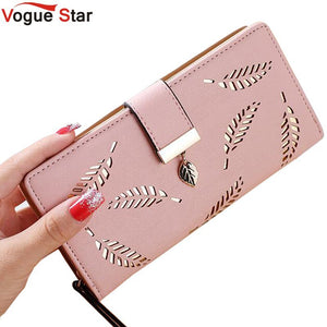 Women Wallet Luxury Designer High Quality Gold Hollow Leaves