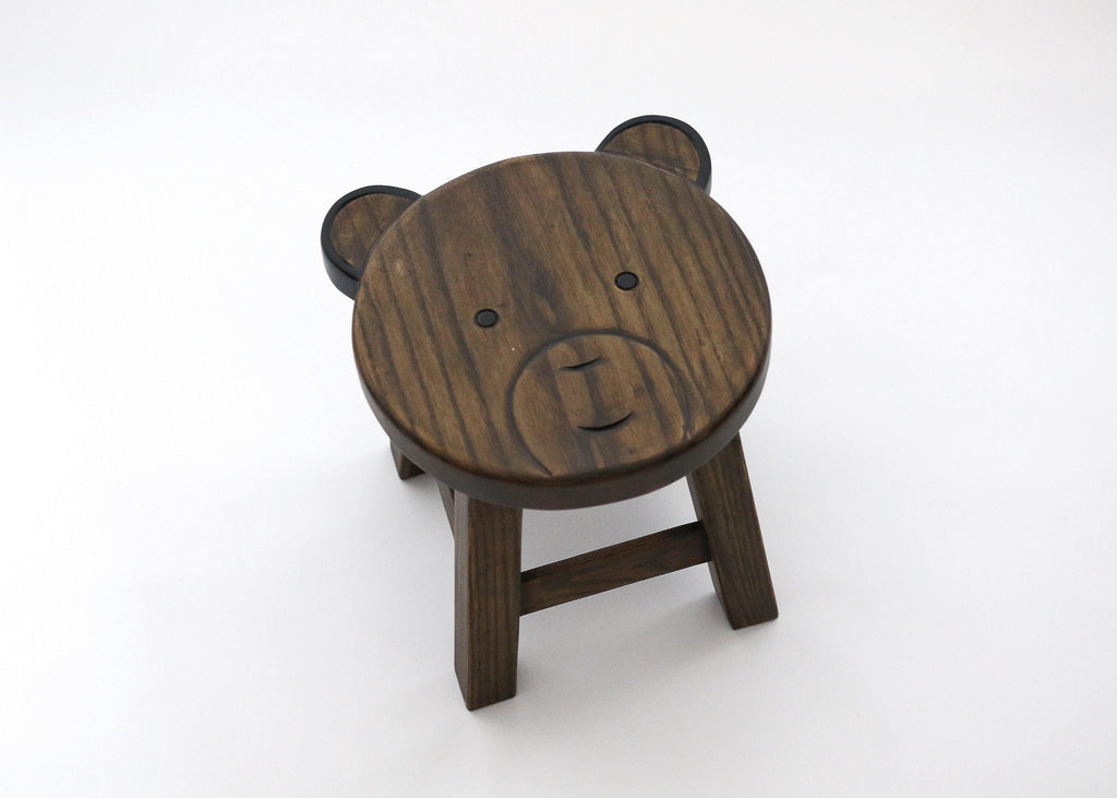 WOODEN BEAR STOOL
