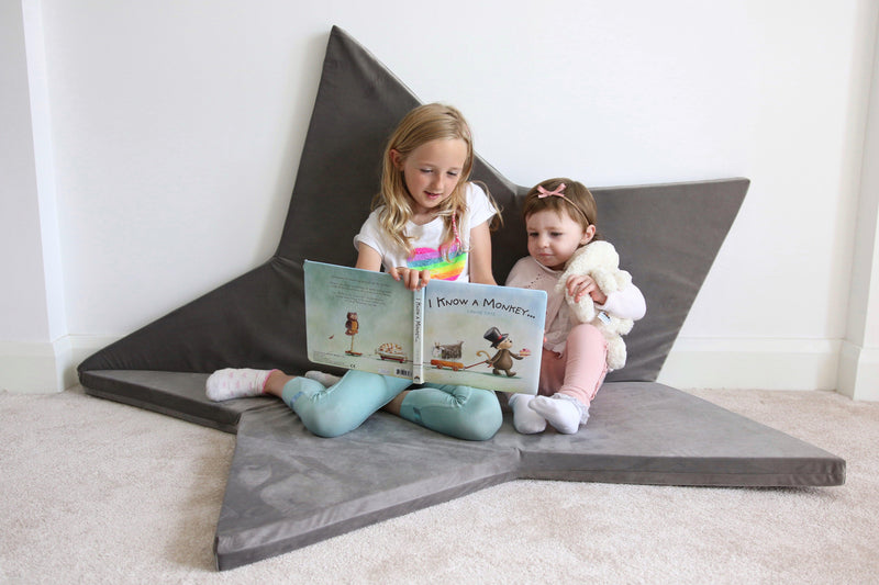 Star play mat grey Childs nursery Lucy and me