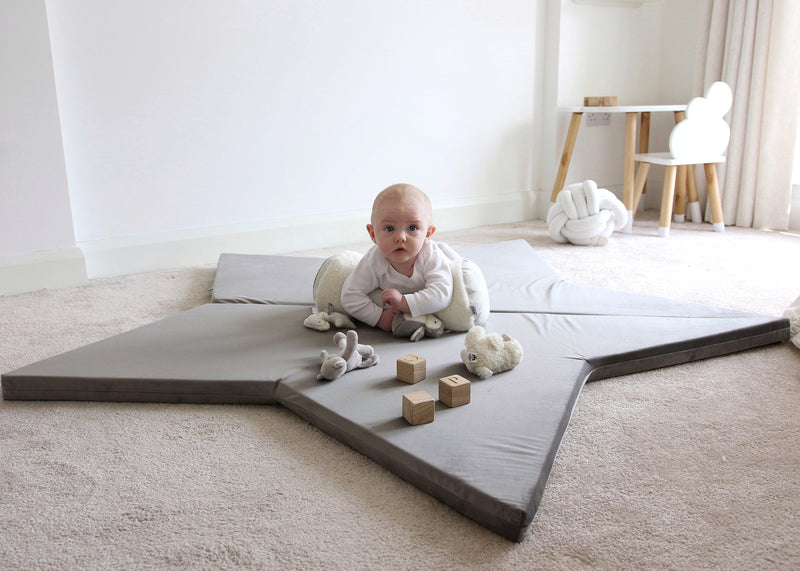 Star play mat grey baby tummy time Lucy and me