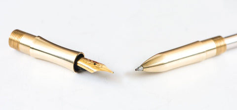 golden ballpoint and fountain nibs