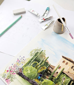 watercolour painting with water jug