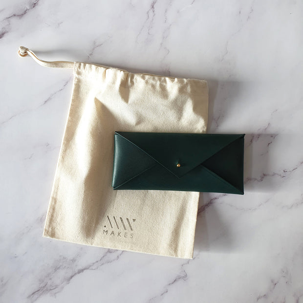 Leather Stationery Envelope - Forest