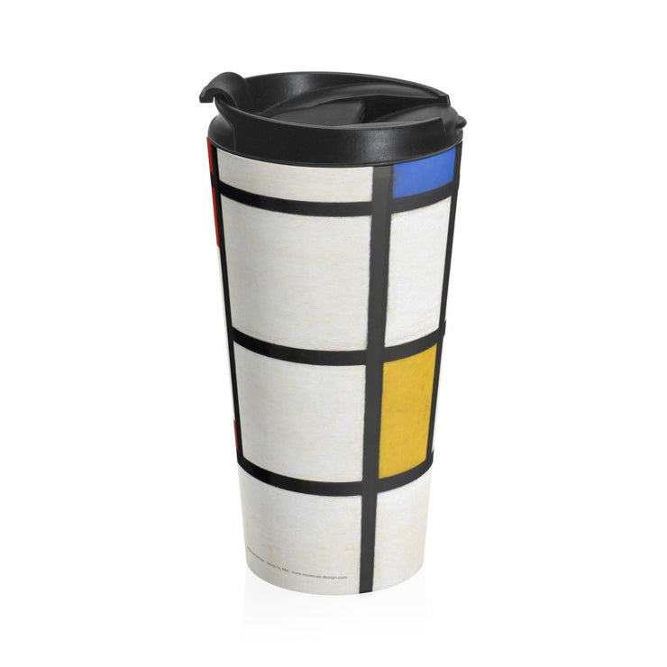 Mondrian Stainless Steel Travel Mug, [Molecule Design]