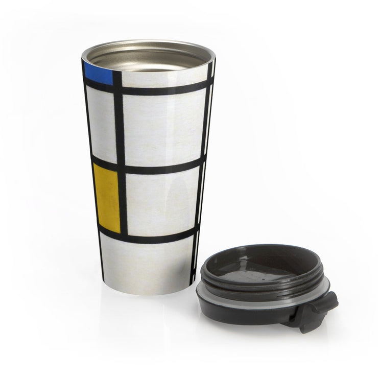 Mondrian Stainless Steel Travel Mug - Molecule Design-Online