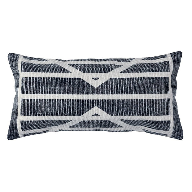 Block Print Lumbar Pillow 12 x 24 - Centerpoint Stripe (set of 2), [Molecule Design]