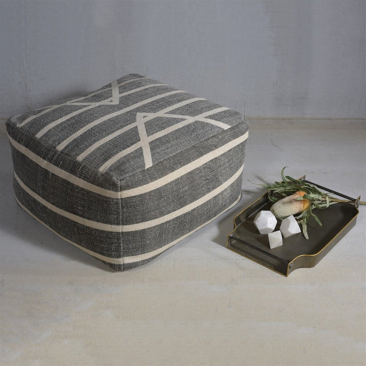 Stripes Cotton Block Print Pouf - Square, [Molecule Design]
