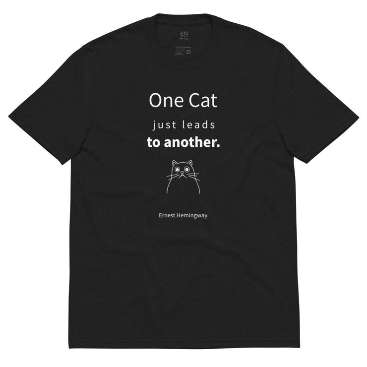 One Cat - Unisex recycled t-shirt / Black, Charcoal - Molecule Design-Online