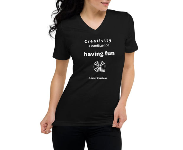 Having Fun - Unisex Short Sleeve V-Neck T-Shirt - Molecule Design-Online