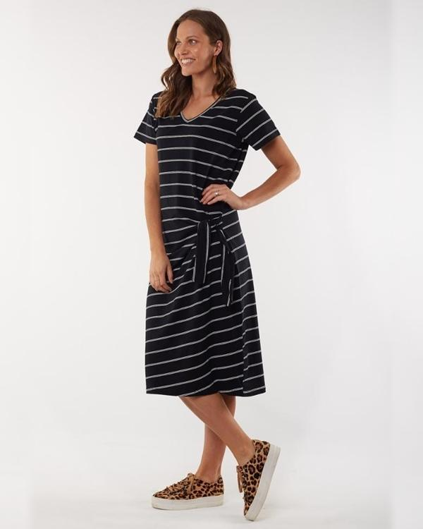 elm bonita black stripe dress