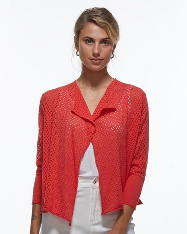Pointelle Stitch Cardi- Coral