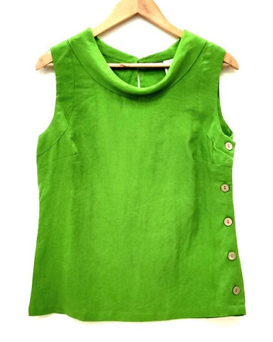 Side Button Cowl Neck Top - Green