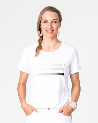Slub Cotton Foil Lines Tee - White
