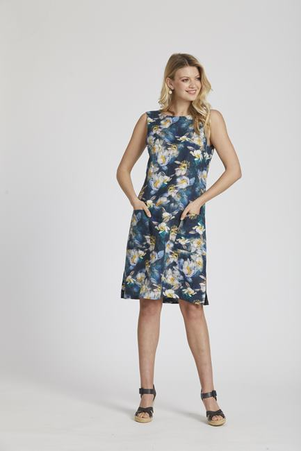 Diana Linen Dress Navy Floral Newport