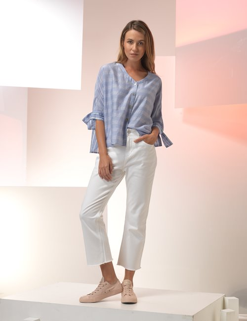 Weekend Wide Leg White Jeans Z&P - Summer cotton pants