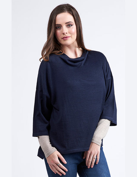 Drop Shoulder Cowl Neck Top Navy