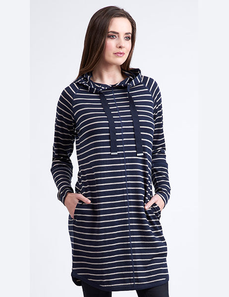 Merino Tunic dress vassalli navy and white stripes