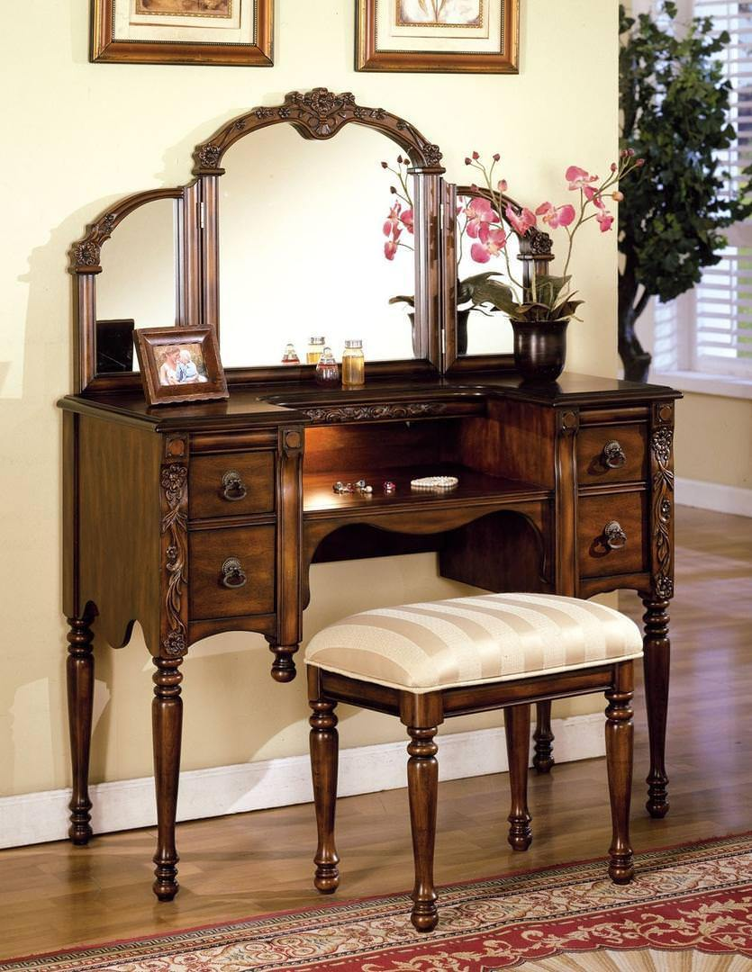 "Acme Bedroom Vanity No, Thank you Acme 06540 46"" Vanity with Bench in Oak"