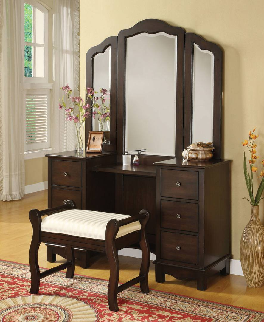 "Acme Bedroom Vanity No, Thank you / No, Thank you Acme 06552 52"" Vanity With Stool in Espresso"