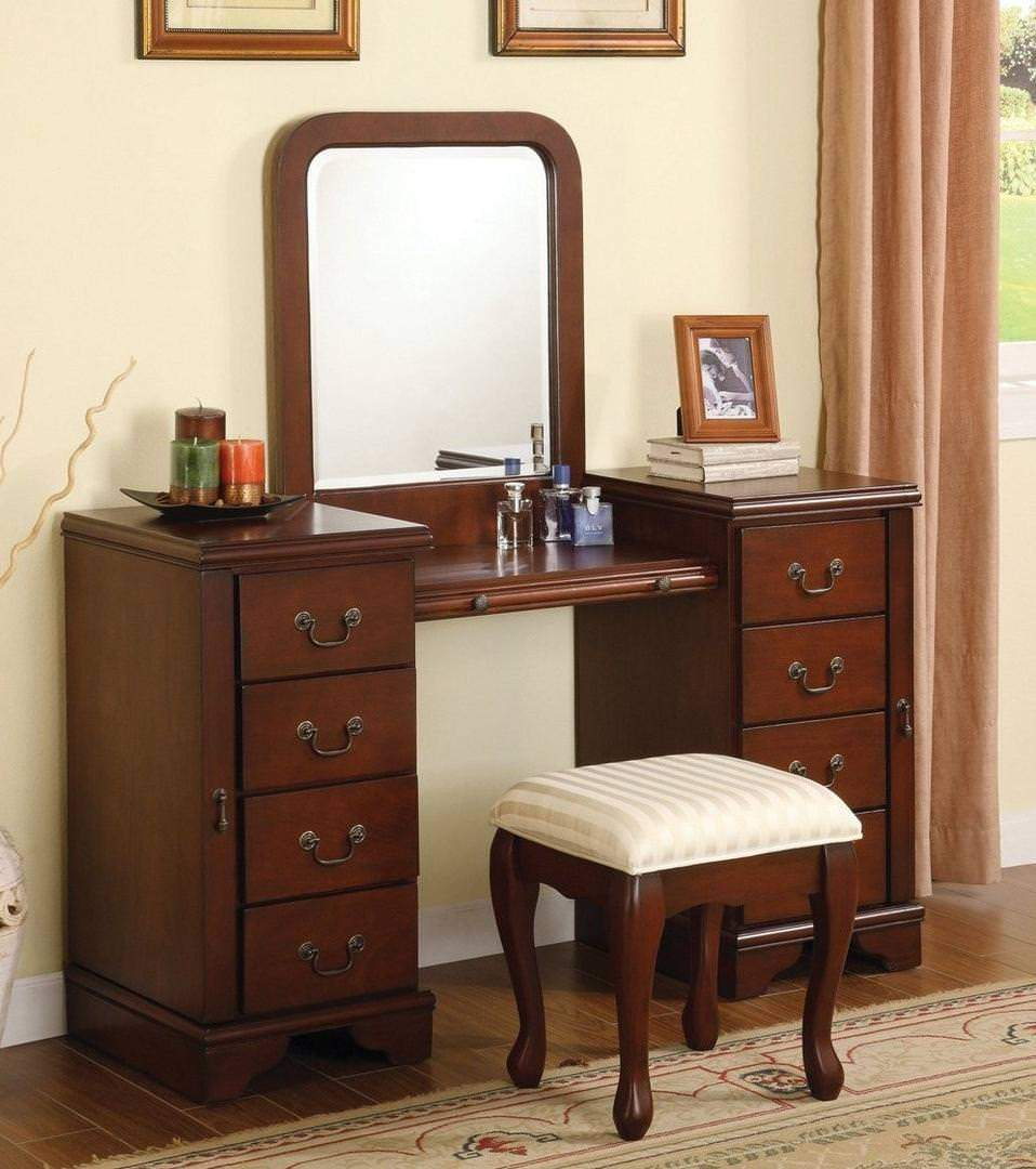 "Acme Bedroom Vanity No, Thank you / No, Thank you Acme 06565 54"" Vanity with Stool in Cherry"