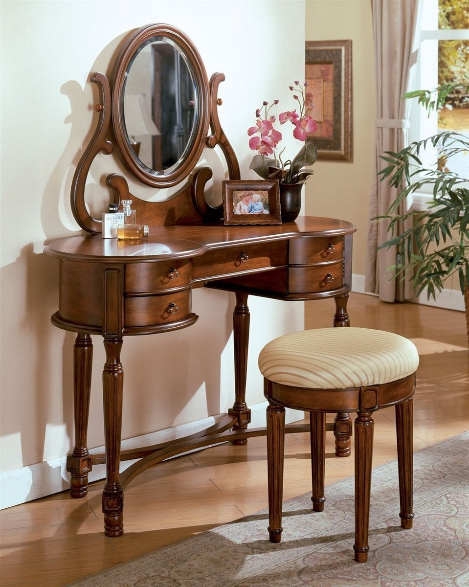 "Acme Bedroom Vanity No, Thank you / No, Thank you Acme 06825 42"" Vanity with Stool in Oak"