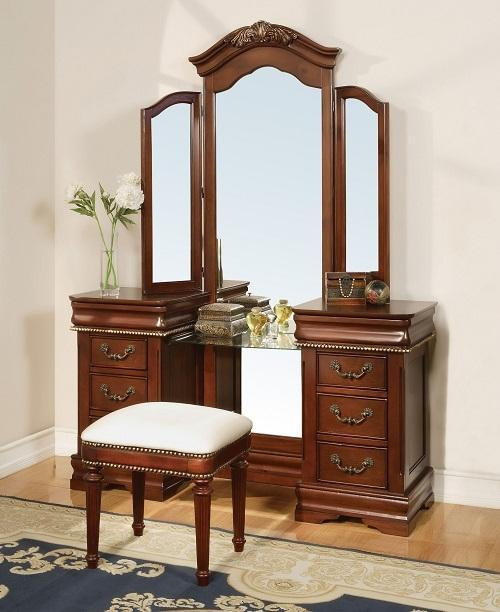 "Acme Bedroom Vanity No, Thank you / No, Thank you Acme 11845 56"" Vanity Mirror in Cherry"