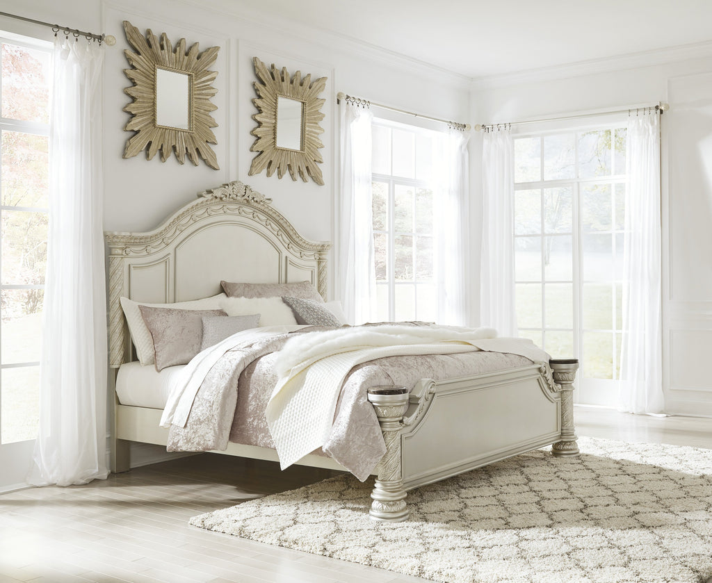 Ashley Bed No, Thank you / No, Thank you Ashley Cassimore Pearl Silver Panel Bed (Queen, King)