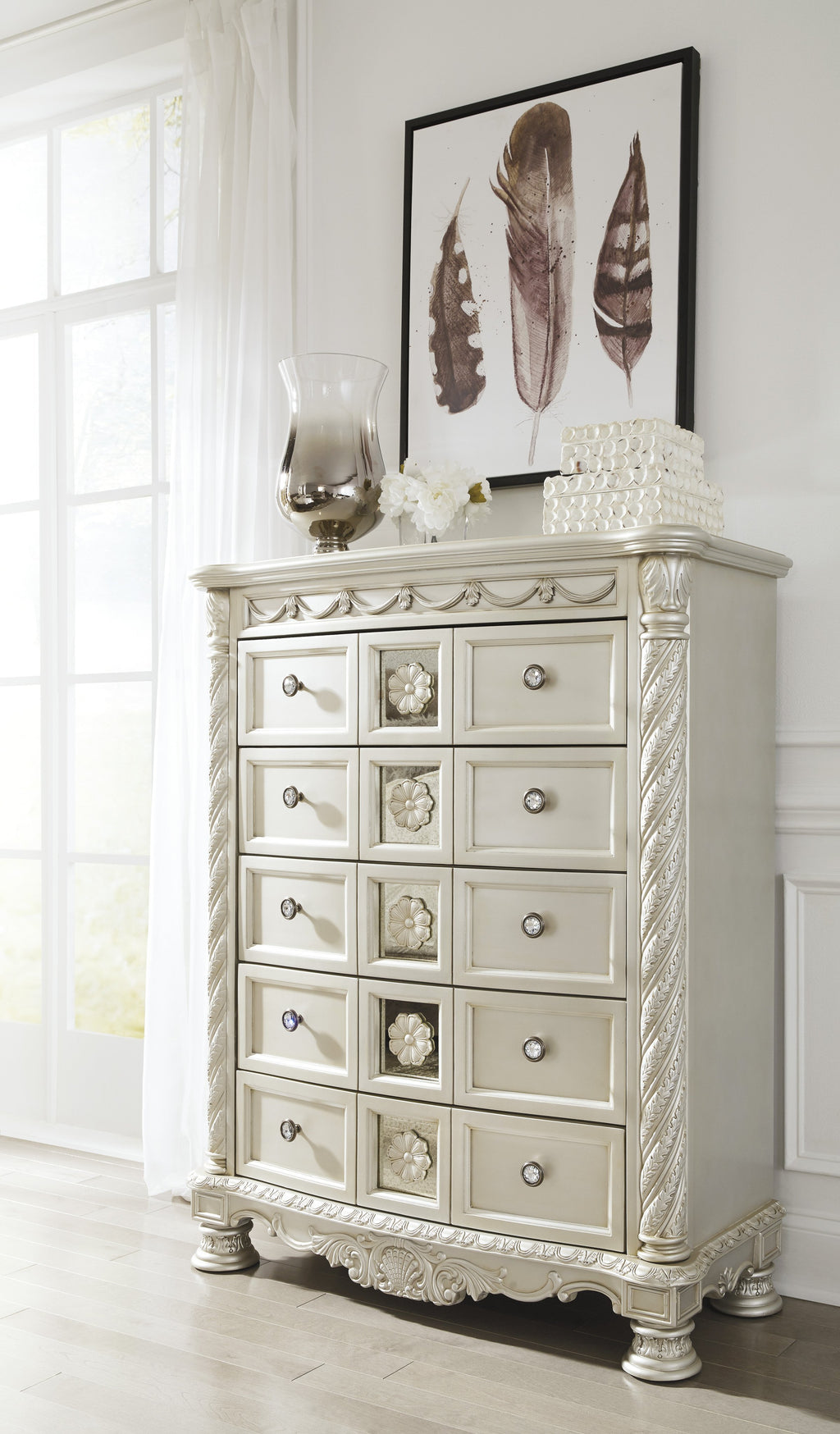 Ashley Chest No, Thank you Ashley Cassimore Pearl Silver Five Drawers Chest