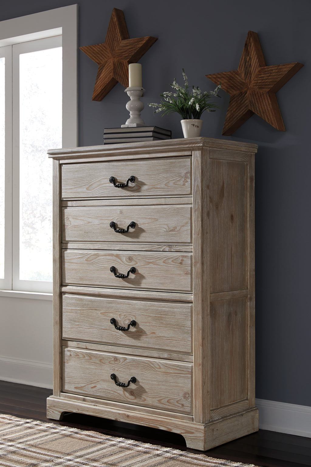 Ashley Chest No, Thank you Ashley Charmyn White Wash Five Drawers Chest