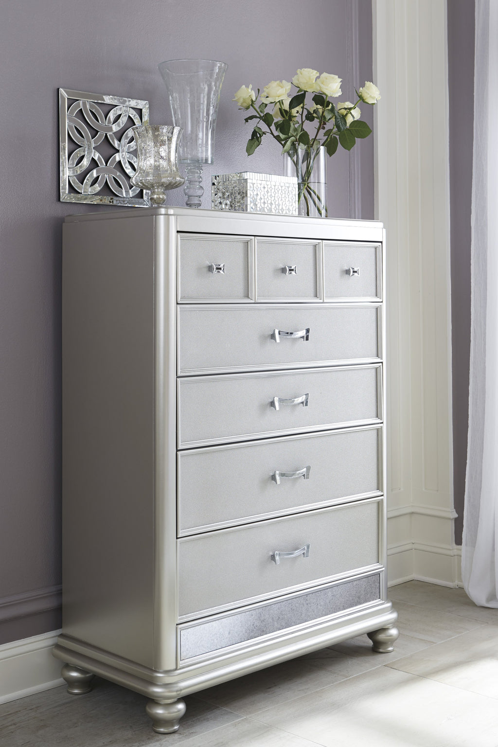 Ashley Chest No, Thank you Ashley Coralayne Silver Five Drawers Chest