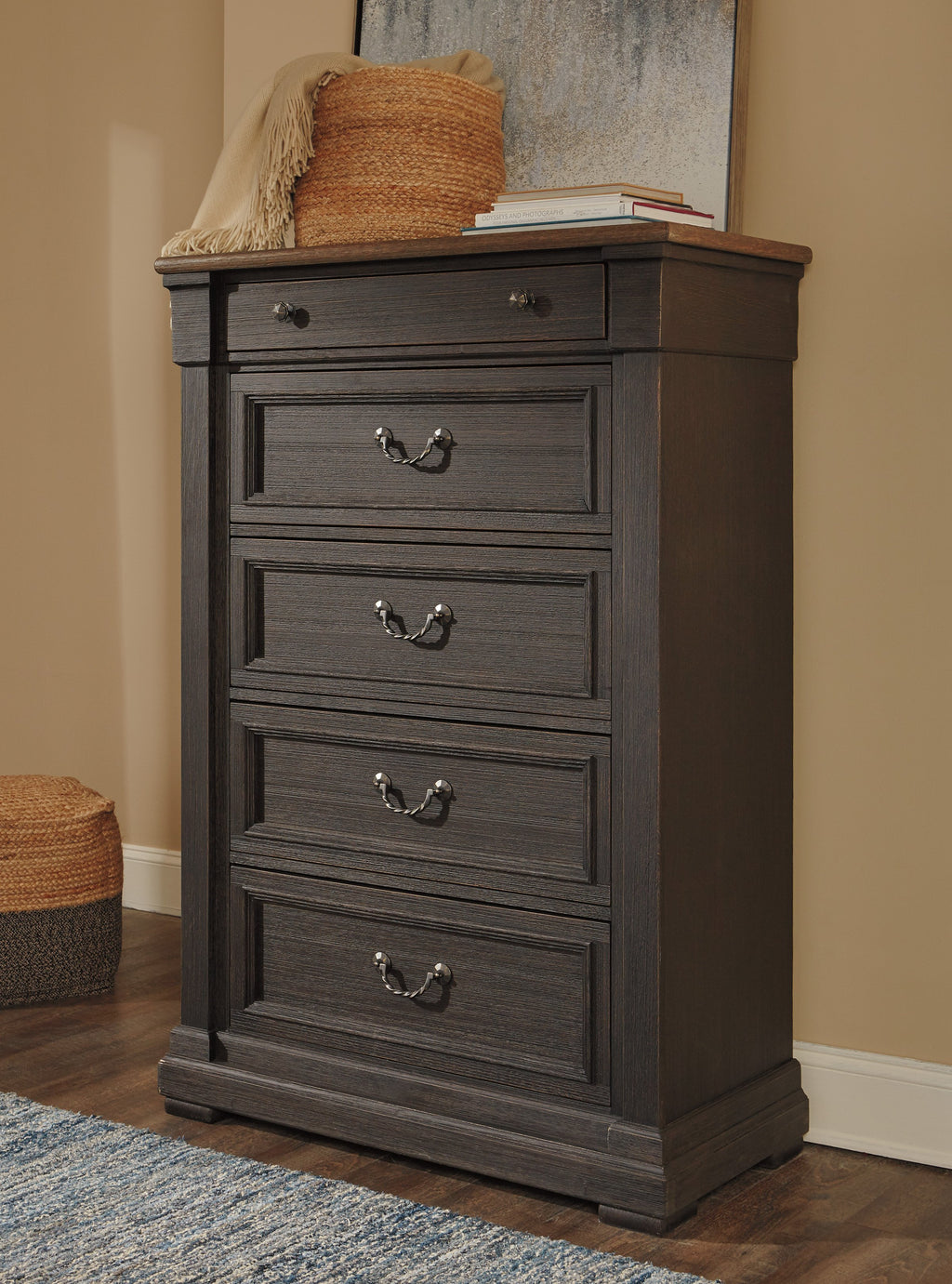 Ashley Chest No, Thank you Ashley Tyler Creek Black/Grey Five Drawers Chest