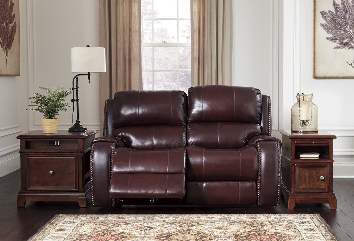 Ashley Gilmanton Burgundy Power Reclining Sofa Set – Forest Furniture