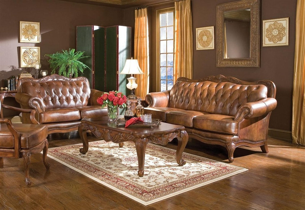 Coaster Living Room Set No, Thank you / No, Thank you Coaster Victoria 500681 Traditional Brown Sofa and Loveseat set