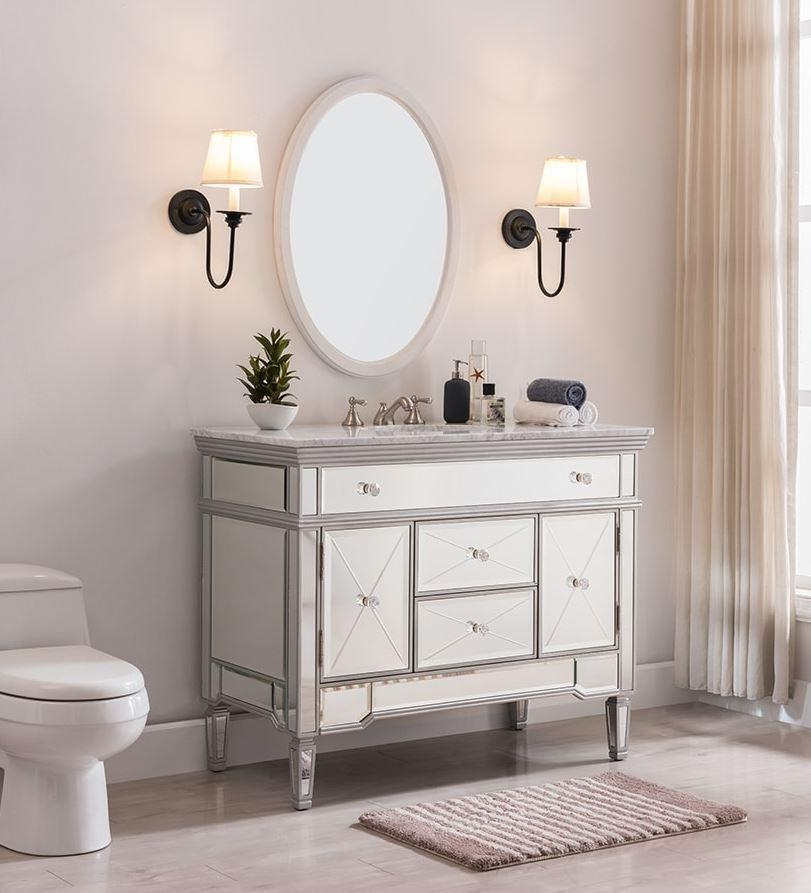 "Forest Furniture Bathroom Vanity 44"" Cottage Mirrored Single Sink Vanity with Italian Carrara Top & Sink"