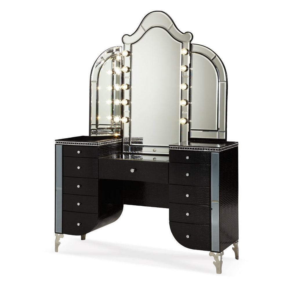 "Michael Amini Aico Bedroom Vanity No, Thank you / No, Thank you Aico 56"" Hollywood Swank Upholstered Vanity and Mirror in Black"